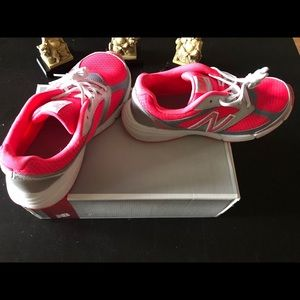 New Balance Youth Lace Up Pink Sneakers
